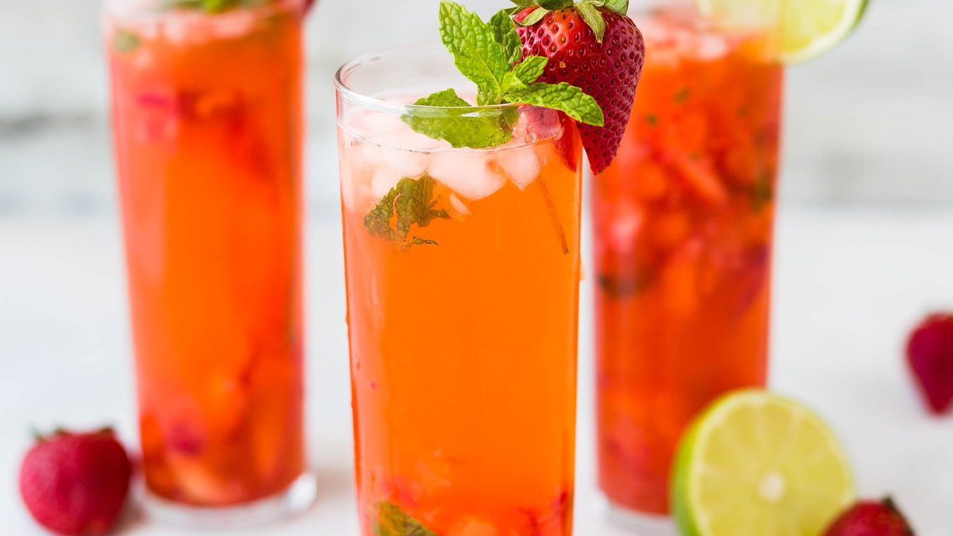 Strawberry gin or vodka drink in a glass